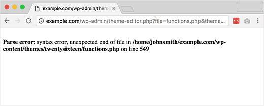 WordPress中的语法错误
