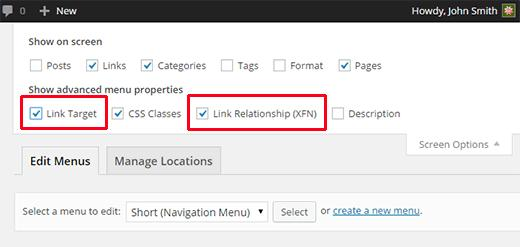Check target and link relationship boxes in Screen Options