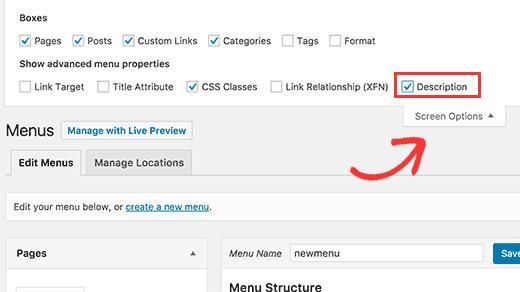 Enabling description field for navigation menus in WordPress