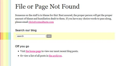 Cut and Taste 404 Page
