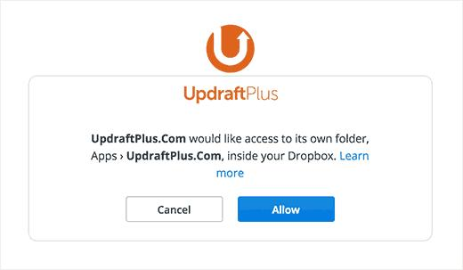 Allow UpdraftPlus to access Dropbox