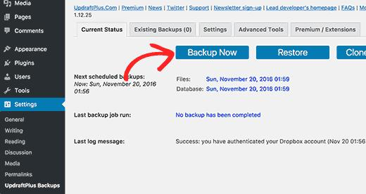Creating a manual backup with UpdraftPlus
