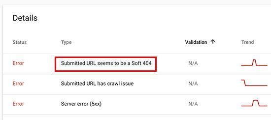 Google Search Console中的软404错误