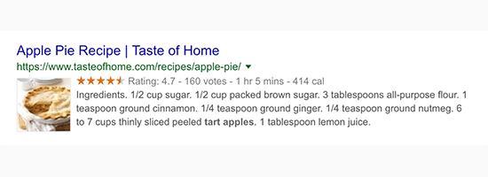 Google搜索结果中显示的丰富网页摘要