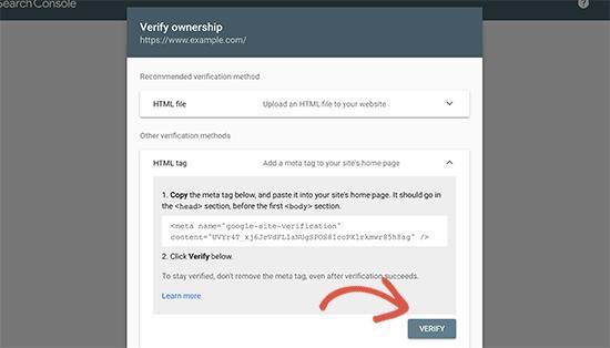 验证您对网站的所有权