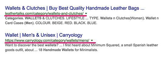 搜索结果中显示的类别页面