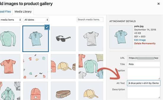 将alt文本添加到产品图像
