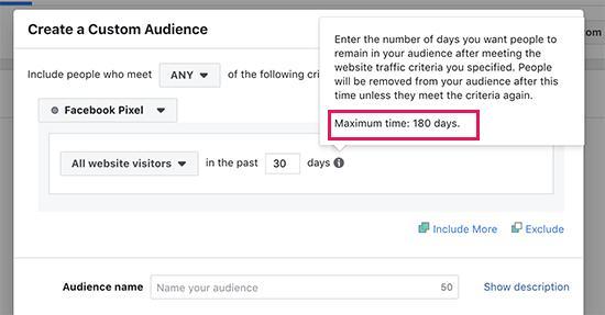 Facebook定制观众重新定位