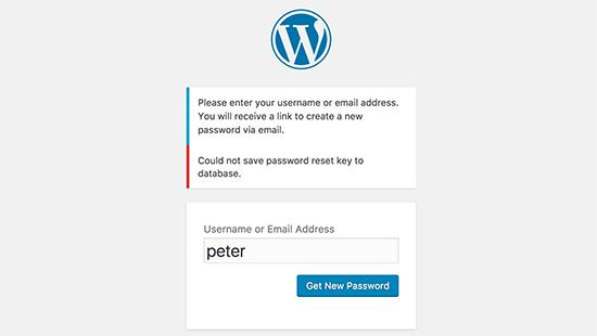 WordPress中的密码重置键错误