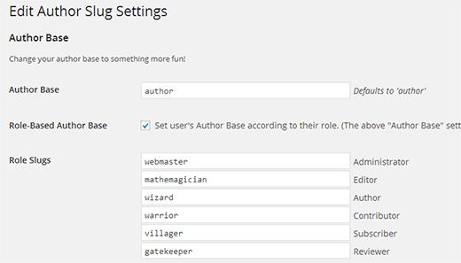 Changing the author base in WordPress