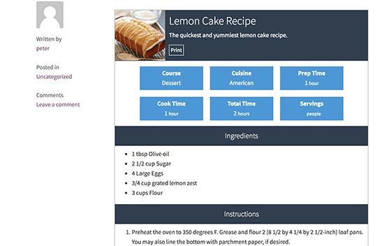 在WordPress中预览食谱