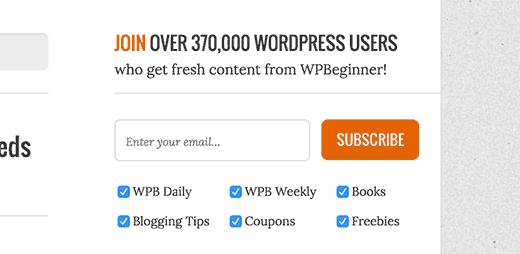 Category subscription choices on WPBeginner