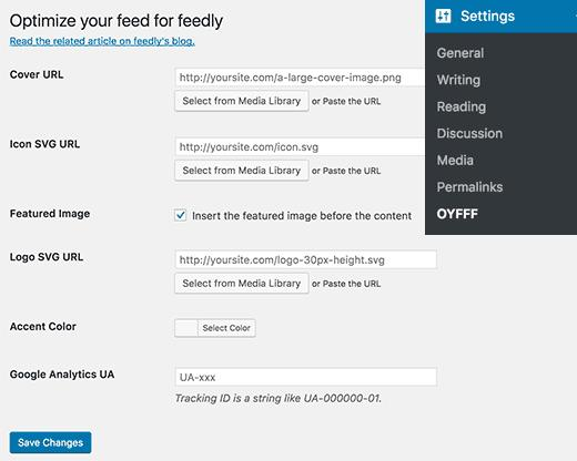 Optimize WordPress feed for Feedly settings