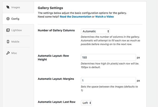 Configure gallery settings