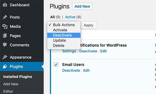 选择并停用WordPress中的所有插件