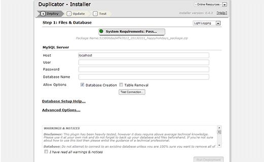 Install a duplicate copy of your WordPress website from duplicator package