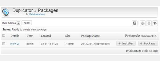 Duplicator package and installer for your WordPress website