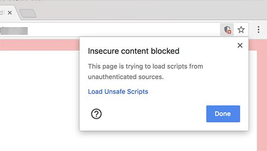 Insecure content blocked