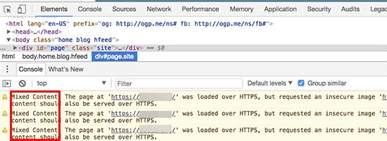 Mixed content errors displayed in browser console
