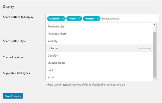 Shared Counts Plugin - select social share buttons