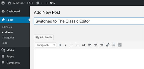 Switching to the classic editor
