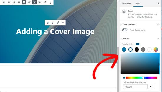 Cover block color overlay options