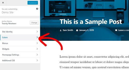Customize colors WordPress twenty nineteen theme