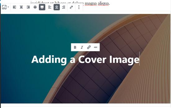 Add text on your cover image in WordPress block editor