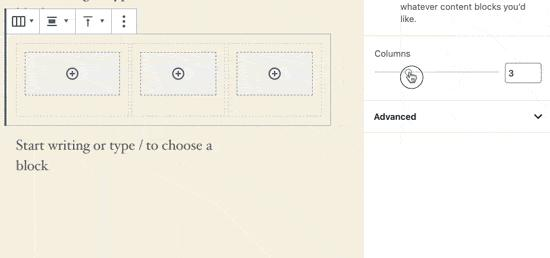 Column width and pattern
