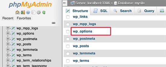 Edit options table