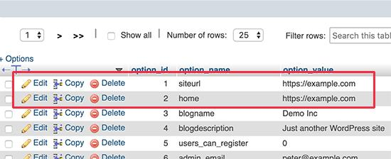 Edit siteurl and home values