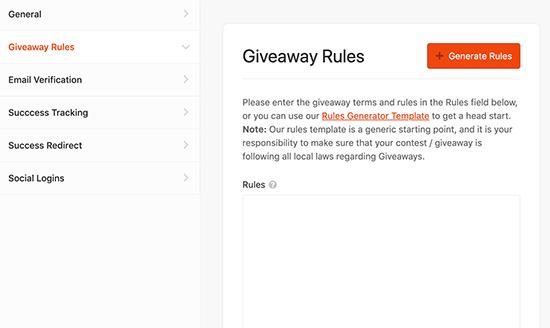 Generate contest rules
