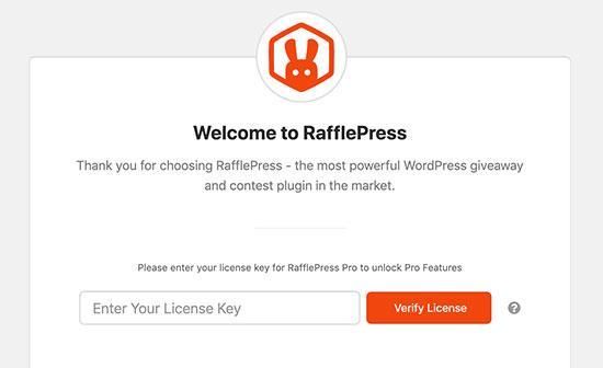 Add RafflePress license key