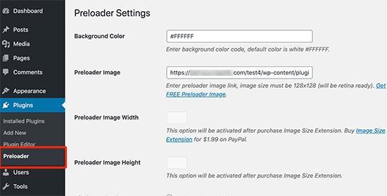 Preloader settings