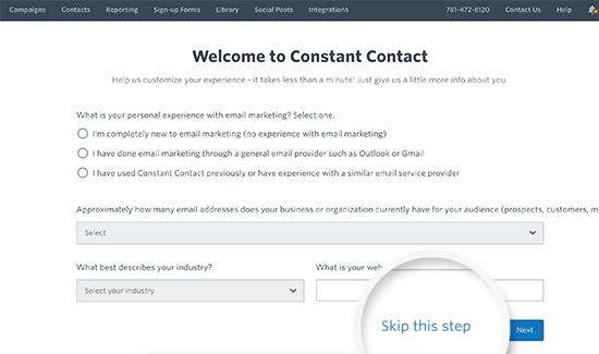 Signup for Constant Contact