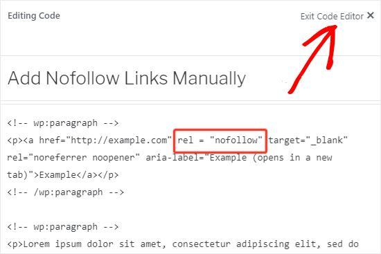 Open code editor to edit external links