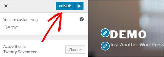 Publish WordPress Customizer settings