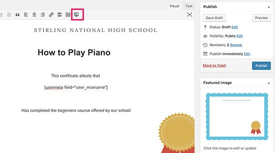 Editing certificate in LearnDash