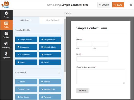 Drag and Drop Form Builder WPForms