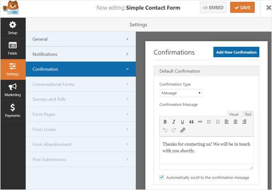 WPForms Confirmation Message Settings