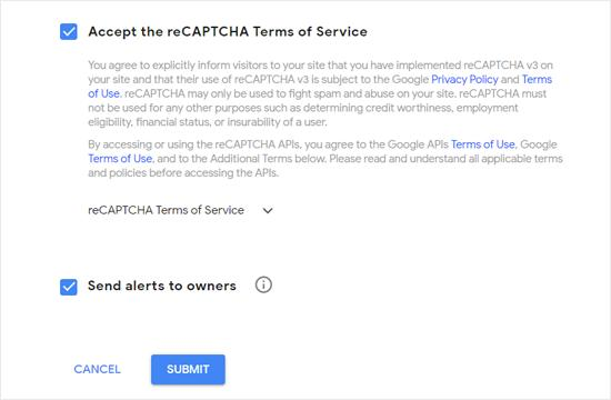 Add Domain Name and Owner for Google reCAPTCHA
