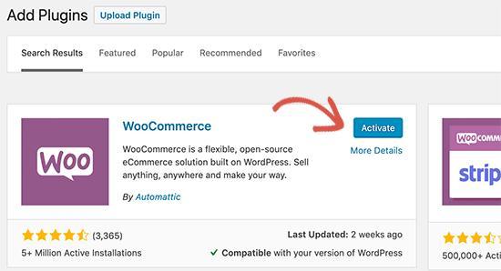 Activate WooCommerce