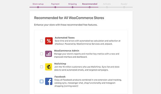 WooCommerce recommended extras