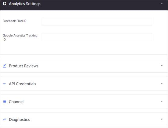 BIgCommerce for WordPress Analytics and Other Settings