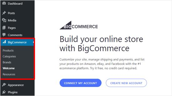 Connect with BigCommerce Account or Create New Account