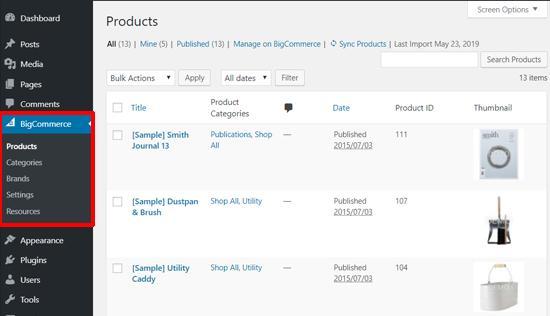 BigCommerce Sample Products in WordPress dashboard
