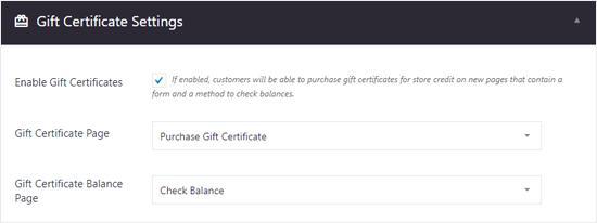 BigCommerce for WordPress Gift Certificates Settings