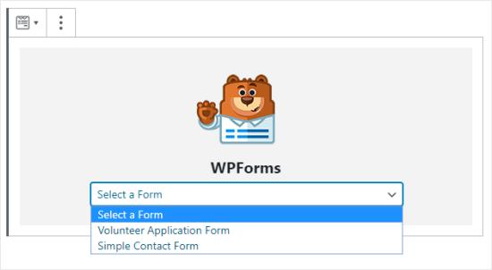 Select the form you want from the dropdown menu