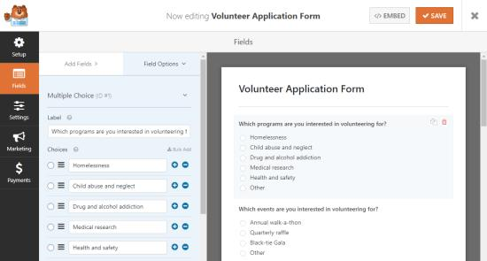 Editing your volunteer application forEditing your volunteer application form