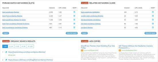 The SEMrush tool showing more keyword options